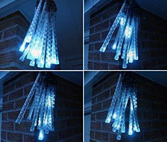 White Connectable Led Meteor Snow Fall Icicle Lights