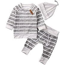 AlwaysFun Newborn Baby Boys Girls Hooded Sweatshirt T-Shirt Tops+Striped Pants Kids Outfits Clothes Set