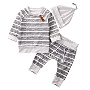 AlwaysFun Newborn Baby Boys Girls Hooded Sweatshirt T-Shirt Tops+Striped Pants Kids Outfits Clothes Set (Grey Stripe, 0-3Months)