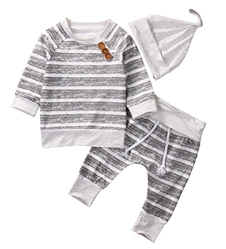 Newborn Baby Boys Girls Hooded Sweatshirt T-Shirt Tops+Striped Pants Kids Outfits Clothes Set (Grey Stripe, 6-12Months) - Baby Set Sweater