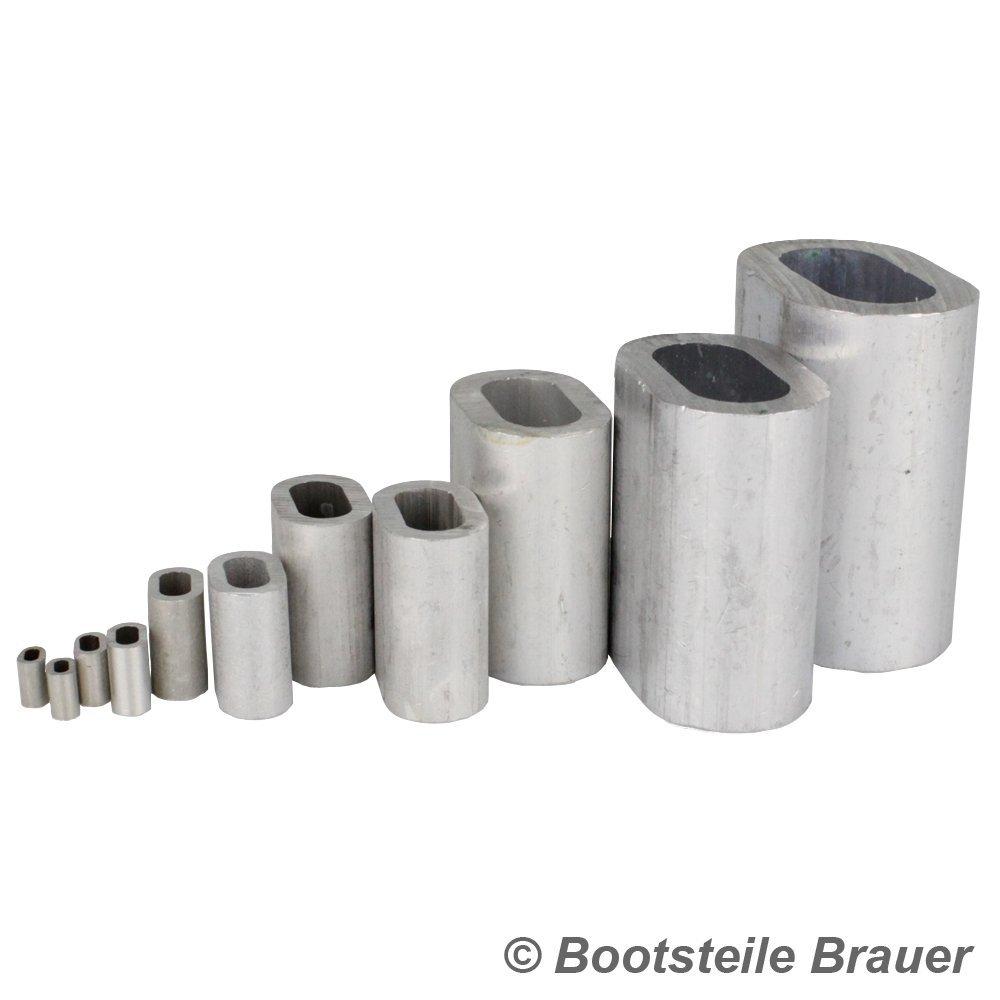 DIN 3093 Alu Klemme Pressh/ülsen Drahtseilklemmen 20 St/ück Pressklemme aus Aluminium DS= 3 x 13 mm