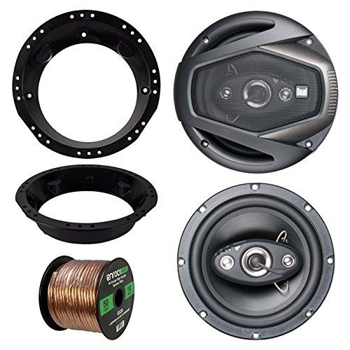 "98-13 Harley Speaker Bundle: 2x Dual DLS654 6.5"" Inch 320 Watts 2-Way Black Car Stereo Coaxial Speaker Combo With Speaker Mounting Rings For Motorcycles + Enrock 50 Foot 16 Guage Speaker Wire"