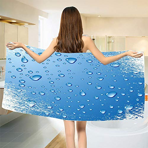 - smallbeefly Grunge Bath Towel Realistic Water Drops Bubbles on Worn Scratched Looking Backdrop Freshness Purity Customized Bath Towels Blue White Size: W 19.5
