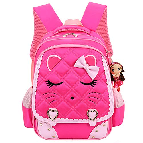 Bow Diamond Bling Waterproof Pink School Backpack Girls Book Bag (Large, Rose) ()