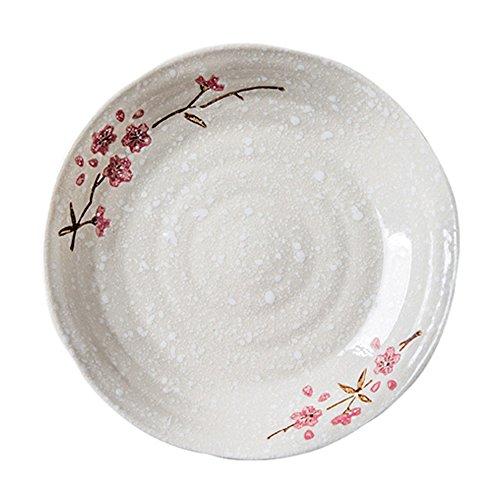 Japanese Cherry Blossom Porcelain Dessert Plates Snowflake Appetizer Steak Dish Ceramic Breakfast Serving Tray Decorative Dinner Wedding Dish Fruit Platter Holder Dinnerware for Spaghetti/Pizza