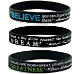 "(6-pack) INSPIRATIONAL QUOTE BRACELETS – ""Believe, Dream, & Greatness"" Silicone Wristbands – Best Creative Unique Bulk Gifts Ideas for Teens Men Women"