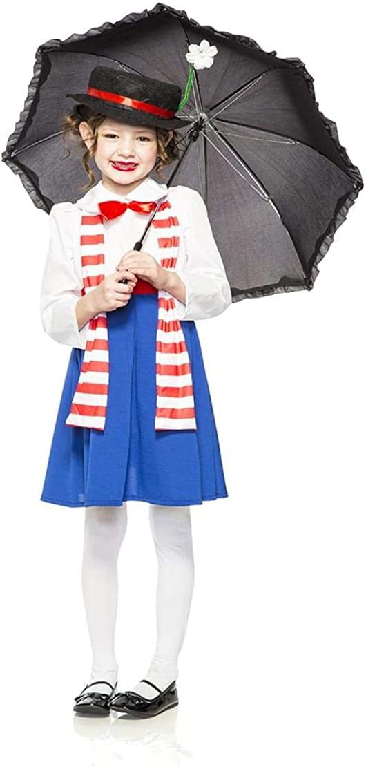 English Nanny Mary Poppins Child Girls Costume NEW
