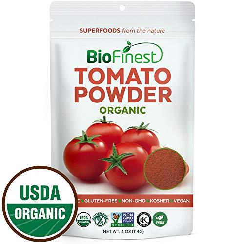 Biofinest Tomato Powder -100% Pure Antioxidants Superfood - USDA Certified Organic Kosher Vegan Raw Non-GMO - Boost Digestion Detox Lower Hypertension - for Smoothie Beverage (4 oz Resealable Bag) by BioFinest