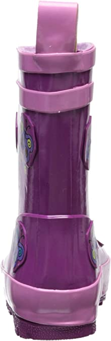 Kidorable Purple Butterfly Natural Rubber Rain Boots w//Pull On Heel Tab