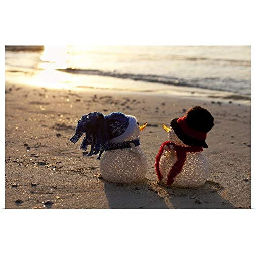 GREATBIGCANVAS Poster Print Entitled Two Cute Snowmen on a Beach in The Caribbean by 18