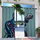 cobeDecor Octopus Exterior/Outside Curtains Octopus Tentacle Holding a Microphone Retro Style Cartoon Rock and Roll Artwork for Patio Light Block Heat Out Water Proof Drape W84 x L108 Teal Pink