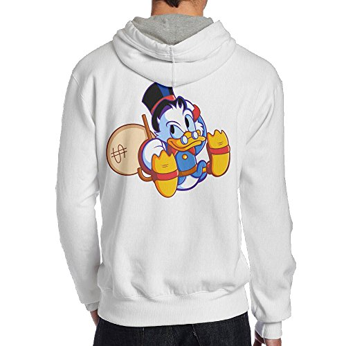 SAMMOI Duck Men's Hooded Sweatshirt S White (Christmas Ducktales Carol)