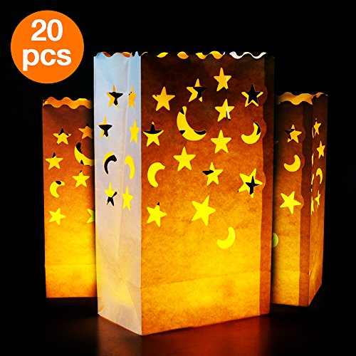 Go Luminary Bags | 20 Pcs Stars and Moon Design Luminary Bags | Durable and Reusable Fire-Retardant Cotton | Superb for Wedding, Halloween, Birthday, or Other Party | White | (Blacklight Halloween Ideas)