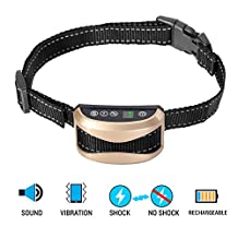 Oxygentle No Bark Dog Collar, Adjustable Rechargeable Rainproof Anti Barking Control Training Electric Collar with 7 Level Sensitivity Harmless Shock Stimulation and Vibration, Warning Beep Sound, LED Display for 15-150 lbs Dogs