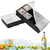 Silicone Ice Cube Trays, 2 Pack XXL Large Ice Cube Molds with Lids- Make 8 Pieces 2 Inch Ice Cube Square for Whiskey Drinking, Making Fun Ice Food - BPA Free & Easy to Release (8Black)