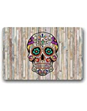 """Non-Slip Entryways Sugar Skull Colorful Wood Pattern Picture Rectangle Indoor/Outdoor Rectangle Floor Mat Doormat - 23.6""""(L) x 15.7""""(W), 3/16"""" Thickness"""
