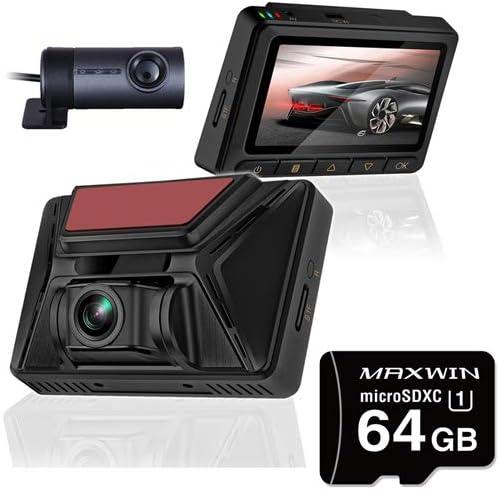 ドライブレコーダー 前後 2カメラ 同時録画 WDR 2160P GPS バックカメラ DVR-D018+microSDXCカード 64GB SD-A64G セット
