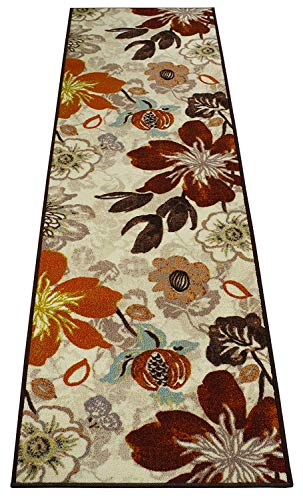 RugStylesOnline Custom Size Runner Big Flowers Floral Design Roll Runner 26 Inch Wide x Your Length Size Choice Slip Skid Resistant Rubber Back (Cream Multi Color, 12 ft x 26 in) (Runner Floral Carpet)