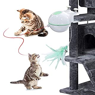 DELOMO Interactive Cat Toy, 2 in 1 Automatic Cat Toy, Cat Light Toy with Moving Feather, Smart Cat Hunt Toy via USB Rechargeable