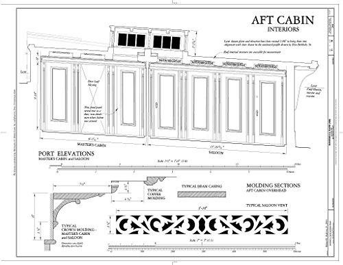 - Historic Pictoric Blueprint Diagram AFT Cabin, Interiors: Port Elevations (Master's Cabin, Saloon) - Schooner C.A. Thayer, Hyde Street Pier, San Francisco, San Francisco County, CA 14in x 11in