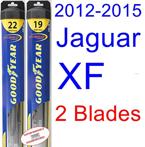 2012-2015 Jaguar XF Replacement Wiper Blade Set/Kit (Set of 2 Blades) (Goodyear Wiper Blades-Hybrid) (2013,2014) by Goodyear Wiper Blades