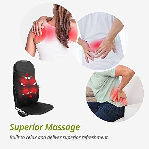 Mynt Shiatsu Seat Massage Chair Cushion With Heat - Durable With Kneading and Shiatsu Massager for Back - FDA Approved, 8 Massage Nodes, For Home, Office, Car and More