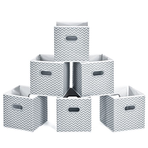 MaidMAX Cloth Storage Bins, Cube Organizer Bins, Foldable Storage Cubes Baskets with Dual Plastic Handles for Home Office Nursery Drawers Organizers, Gray Chevron, 10.5×10.5×11 inches, Set of 6