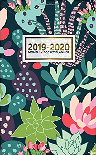 2019 2020 monthly pocket planner two year monthly cactus bonanza pocket planner with phone book password log and notebook nifty succulent 24 month agenda calendar and organizer