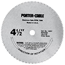 PORTER-CABLE 12057 4-1/2-Inch 120 Tooth TCG Plywood Cutting Saw Blade with 3/8-Inch Arbor