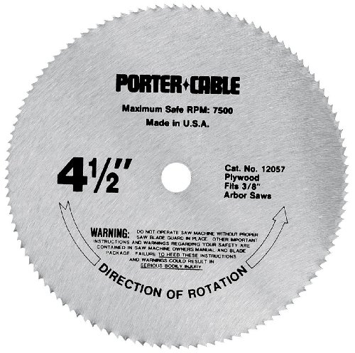 - PORTER-CABLE 12057 4-1/2-Inch 120 Tooth TCG Plywood Cutting Saw Blade with 3/8-Inch Arbor