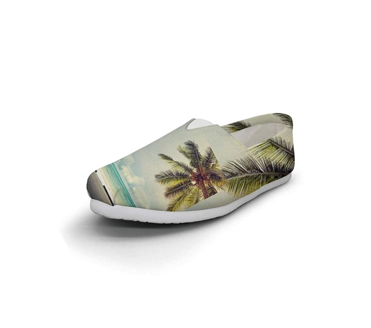 nkfbx Ocean Beach Palm Tree Coconut Tree Bus Fashion Flat Canva Shoes for Girls Exercising