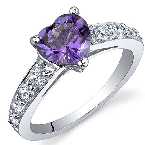 Dazzling Love 1 Carats Amethyst Ring in Sterling Silver Rhodium Nickel Finish Size 9