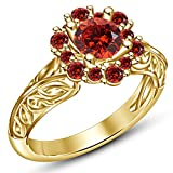 TVS-JEWELS Women Anniversary Ring Round Shape Red Created Garnet Solitaire W/Accents Style (6.25)