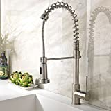 Best Commercial Solid Brass Lead-Free Single Handle Stainless Steel Spring Pull Down Sprayer Brushed Nickel KitchenSink Faucet, Brushed Nickel Finished