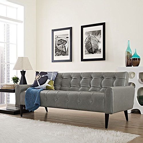 Modway Delve Vinyl Sofa in Gray