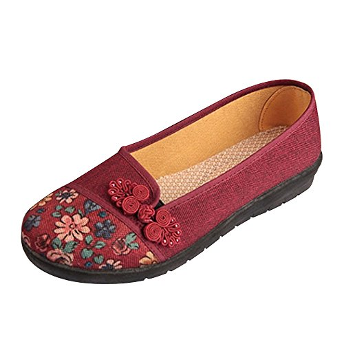 Todaies Women Shallow Broken Flower Round Toe Anti Skidding Cloth Shoes Casual Shoes Red from Todaies