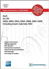 Audi A4 S4 2002 2003 2004 2005 2006 2007 2008 Includes Avant Cabriolet Rs4 Repair Manual On Dvd Rom Windows 2000 Xp Audi Of America 9780837613789 Amazon Com Books