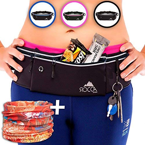 Running Belt - iPhone X 6 7 8 Plus & Samsung Phone Pouch for Runners | Best Women Men Kids Reflective Waist Pocket Belt Gear for Fitness Gym Hiking Workout + Bandana Sports Scarf by ROCCA (Black)