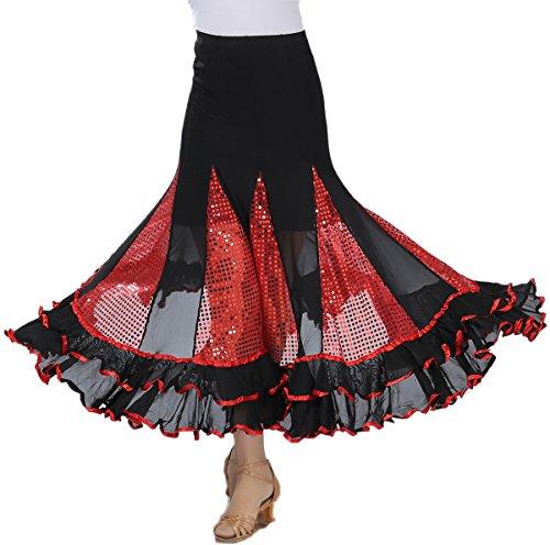 Ruffle Glitter Long Latin Waltz Ballroom Dance Circle Tango Skirts Costumes - Ballroom Costumes For Sale