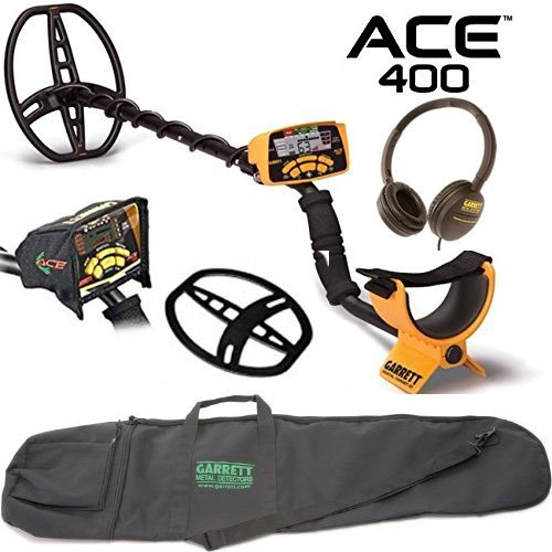 Garrett ACE 400 Metal Detector with DD Waterproof Search Coil and Carry...