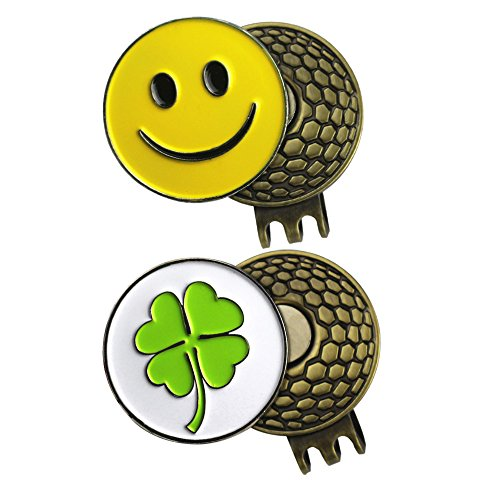 PINMEI 2 Sets of Golf Ball Marker with Magnetic Golf Hat Clip (CLOVER and SMILEY FACE)