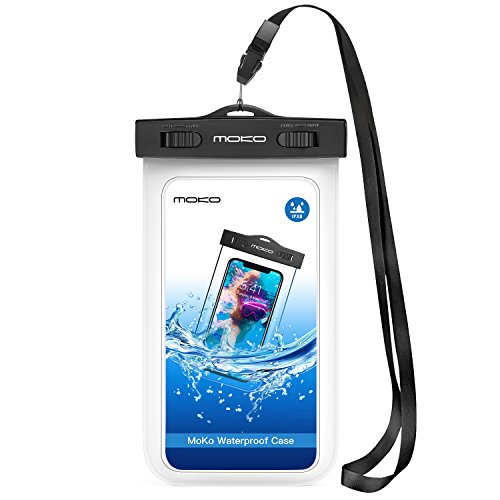 MoKo Waterproof Phone Pouch, Underwater CellPhone Case Dry Bag with Lanyard Armband Compatible with iPhone 11/11 Pro Max, X/Xs/Xr/Xs Max, 8/7/6 Plus, Samsung S10/S9/S8 Plus, S10e, A10E, Note 10, White