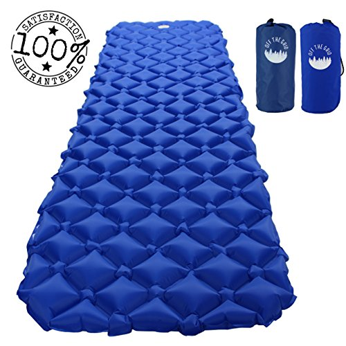 Off the Grid Backpacking Sleeping Pad - Camping Lightweight Inflatable Mat - Air Portable Waterproof Mattress for Traveling, Hiking, Outdoors (Blue)