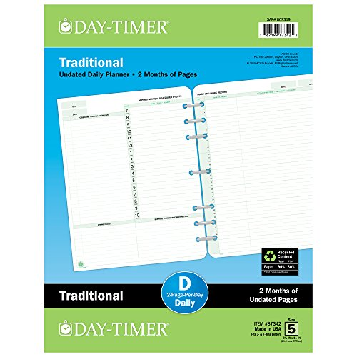 (Day-Timer 2 Months/2 Pages Per Day, Undated Refill, 8-1/2