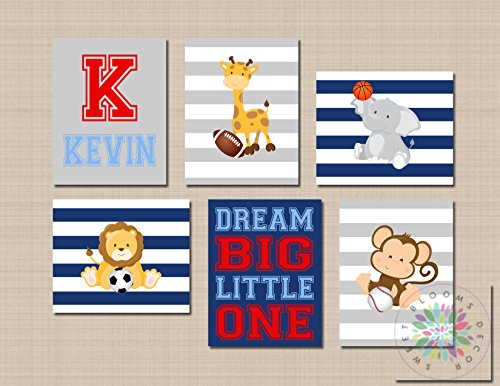 Animals Sports Nursery Wall Art Future All Star Blue Gray Red Sports Animals Sports Decor Monogram Football Soccer UNFRAMED 6 (NOT CANVAS) C663 (Ball Ivy)
