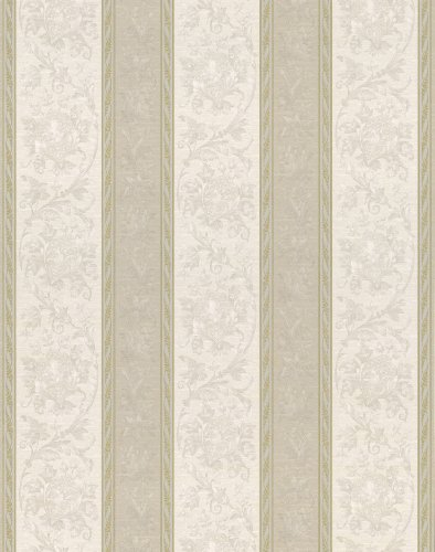 Brewster 430-7016 Textured Weaves Scroll Stripe Wallpaper, 20.5-Inch by 396-Inch, Neutral ()