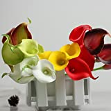 Kaimao 10 Pcs Artificial Calla Lily Flower Real Touch Bridal Wedding Flowers Bouquet for Home Room or Birthday Garden Decoration - Green