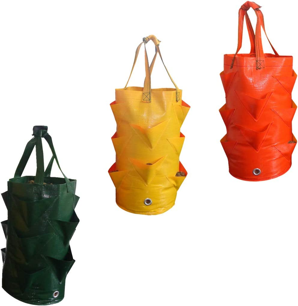 ZERIRA 3 Pack Garden Grow Bags Hanging Strawberry Planting Containers with Handles for Growing Vegetables Flowers Herb Plant