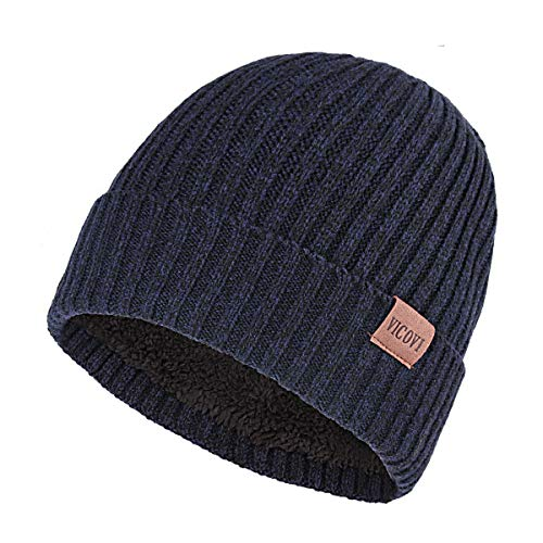 VICOVI Winter Knit Beanie Hats for Men and Women Warm Fleece Stretch Slouchy Skull Cap Navy
