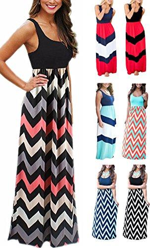 LETSRUNWILD Women's Boho Chevron Striped Print Summer Beach Sleeveless Tank Long Maxi Party Dress Black Medium